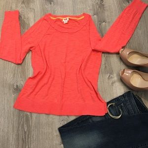 Bright coral long sleeve shirt, Size Large